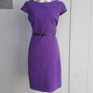 Purple Black Belt Cap Sleeve Sheath Midi Dress 12